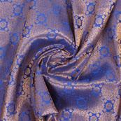 Blue Golden Brocade Silk Fabric-8996