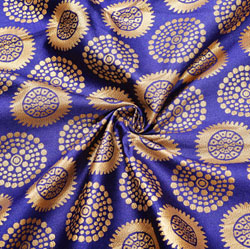 Blue Golden Circle Brocade Silk Fabric-12414