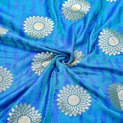 Blue Golden Circle Brocade Silk Fabric-12526