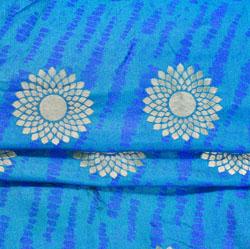 Blue Golden Circle Brocade Silk Fabric-12532
