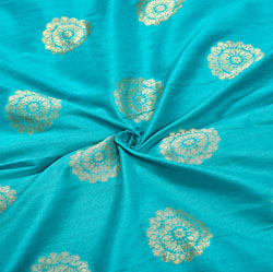 Blue Golden Circle Brocade Silk Fabric-12544