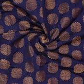 Blue Golden Circle Brocade Silk Fabric-9210