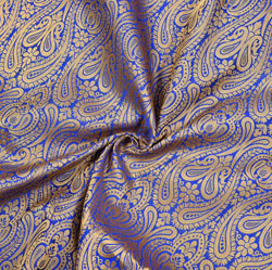 Blue Golden Floral Brocade Silk Fabric-12357