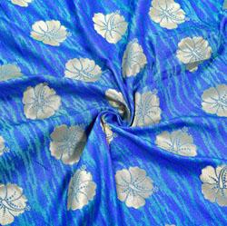 Blue Golden Floral Brocade Silk Fabric-12513