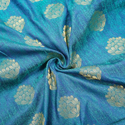 Blue Golden Floral Brocade Silk Fabric-12518
