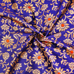 Blue Golden Floral Brocade Silk Fabric-12607