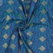 Blue Golden Floral Jacquard Brocade Silk Fabric-9121