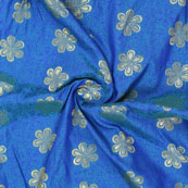 Blue Golden Floral Jacquard Brocade Silk Fabric-9157