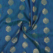 Blue Golden Floral Jacquard Brocade Silk Fabric-9188
