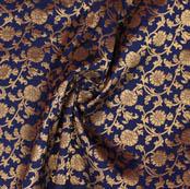 Blue Golden Floral Brocade Silk Fabric-9372