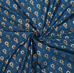 Blue Golden Floral Cotton Fabric-28072