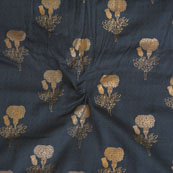 Blue Golden Floral Jam Cotton Fabric-15135