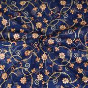 Blue Golden Flower embroidery Organza Silk Fabric-51517