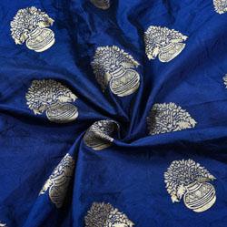 Blue Golden Flower-pot Brocade Silk Fabric-12185
