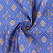 Blue Golden Jacquard Cotton Fabric-9008