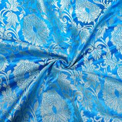 Blue Golden Kinkhab Banarasi Silk Fabric-12404