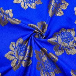 Blue Golden Paisley Brocade Silk Fabric-12132