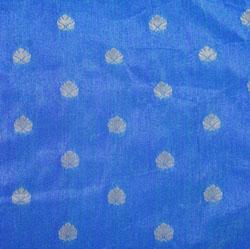 Blue Golden Paisley Brocade Silk Fabric-12505