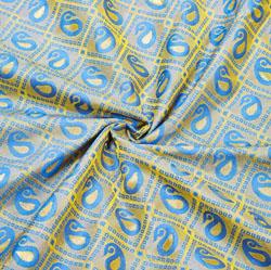Blue Golden Paisley Brocade Silk Fabric-12516