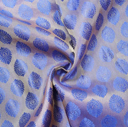 Blue Golden Paisley Brocade Silk Fabric-12527