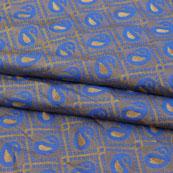 Blue Golden Paisley Jacquard Brocade Silk Fabric-9163