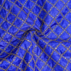 Blue Golden Embroidery Silk Paper Fabric-18688