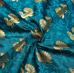 Blue Golden Peacock Brocade Silk Fabric-12232