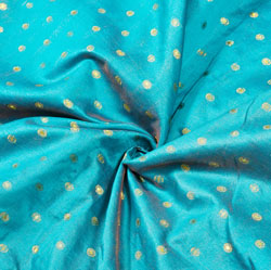 Blue Golden Polka Brocade Silk Fabric-12530