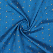 Blue Golden Polka Brocade Silk Fabric-9359