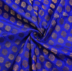 Blue Golden Polka Chanderi Zari Silk Fabric-12230