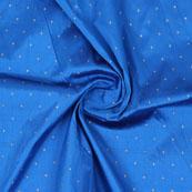 Blue Golden Polka Silk Fabric-9063