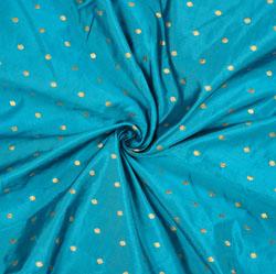 Blue Golden Polka Zari Taffeta Silk Fabric-12633