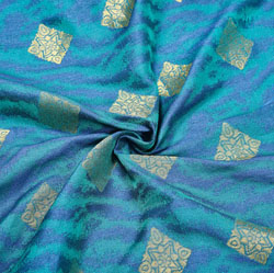 Blue Golden Rectangle Brocade Silk Fabric-12506