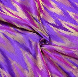 Blue Golden Zig-Zag Brocade Silk Fabric-12441