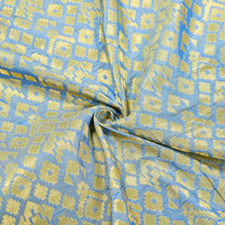 Blue Golden Zig-Zag Brocade Silk Fabric-12510