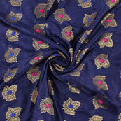 Blue Golden and Pink Banarasi Silk Fabric-8954