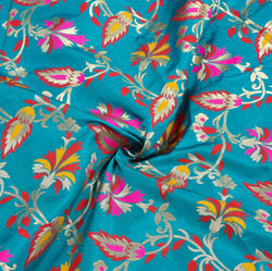 Blue Golden and Red Floral Banarasi Silk Fabric-12337