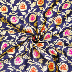 Blue Golden and Red Floral Brocade Silk Fabric-12588