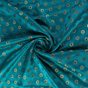 Blue Golden and Red Floral Satin Brocade Silk Fabric-9483
