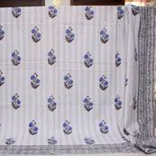 Blue-Gray and Cream Handmade Tree Pattern Kantha Quilt-4360