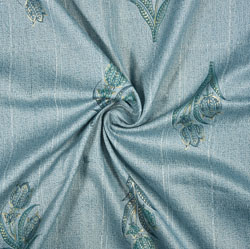 Blue Green Floral Rayon Fabric-16237