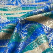Blue-Green and Beige Flower Design Kota Doria Fabric-6041