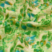 Blue-Green and Beige Leaf Shape Kota Doria Fabric-6018