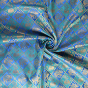 Blue-Green and Golden Elephant Silk Brocade Fabric-8622