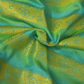 Blue-Green and Golden Floral Pattern Brocade Silk Fabric-8061