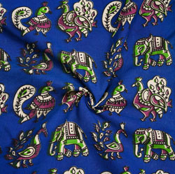Blue Green and Pink Animal Cotton Kalamkari Fabric-28054