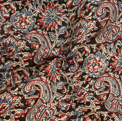 Blue Green and Pink Floral Cotton Kalamkari Fabric-28056
