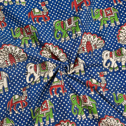 Blue Green and Red Animal Cotton Kalamkari Fabric-28051