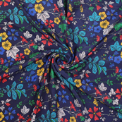 Blue-Green and Red Flower Silk Crepe Fabric-18147