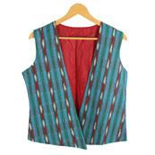 Blue-Green and Red Sleeveless Ikat Cotton Koti Jacket-12215